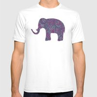 Paisley Elephant Mens Fitted Tee White SMALL