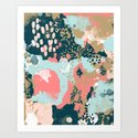 Eisley - Modern fresh abstract painting in bright colors perfect for trendy girls decor college Art Print