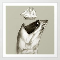 shark Art Prints featuring shark by Кaterina Кalinich