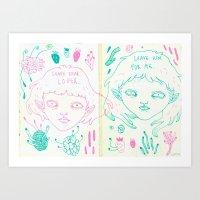 lyrics Art Prints featuring lyrics by Ines J.