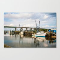 At The Dock Canvas Print