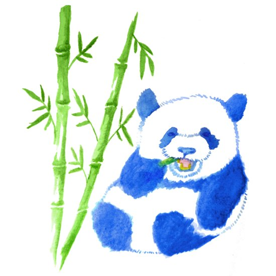 Panda eating bamboo Watercolor Print Canvas Print