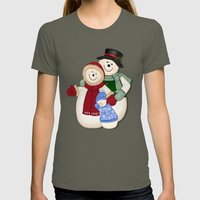 Snowman and Family Glittered Womens Fitted Tee Lieutenant SMALL