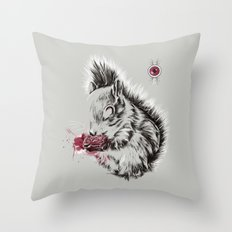 Zombie Squirrel Throw Pillow