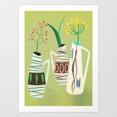 Three mid century vases Art Print