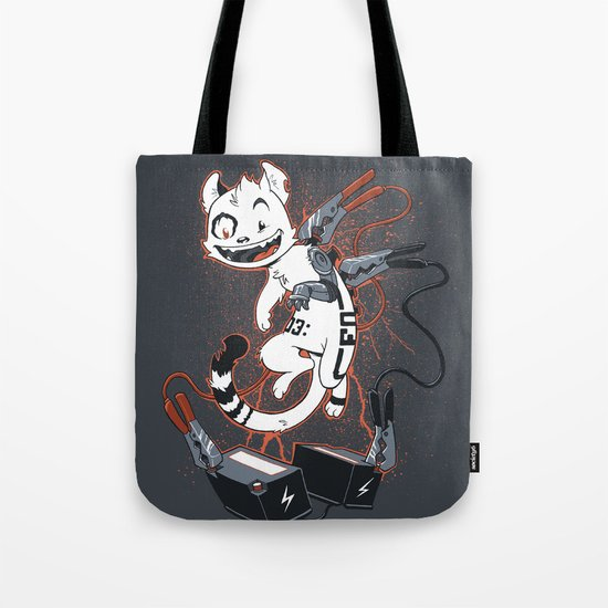 Cybercat Charges Up Tote Bag