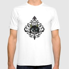 cat damask White SMALL Mens Fitted Tee