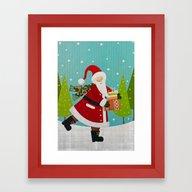 Santa And Presents Framed Art Print
