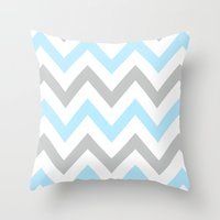 BLUE & GRAY CHEVRON Throw Pillow