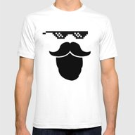 Thug Mustache Mens Fitted Tee White SMALL