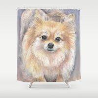 Pomeranian Watercolor Po… Shower Curtain
