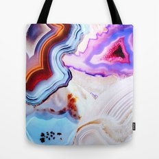 Agate, a vivid Metamorphic rock on Fire Tote Bag