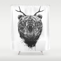 Angry bear with antlers Shower Curtain
