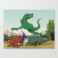 Dinosaurs Dancing Canvas Print