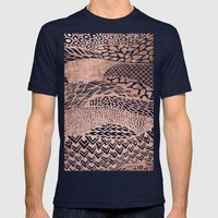 Modern Stylish Geometric… Mens Fitted Tee Navy SMALL