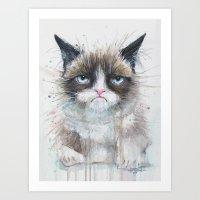 Grumpy Kitty Cat  Art Print