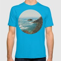 Oregon Coast Mens Fitted Tee Teal SMALL