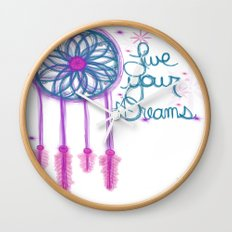 Live Your Dreams - White Wall Clock