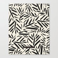 Not So Black and white leaves Canvas Print