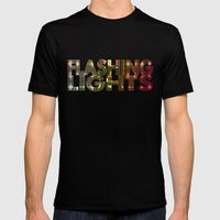 Flashing Lights Mens Fitted Tee Black SMALL