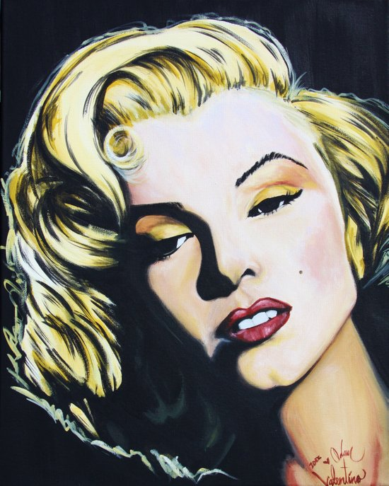 Marilyn Monroe acrylic painting print by Adam Valentino  Canvas Print