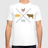 BBQ Hipster Logo Mens Fitted Tee White SMALL