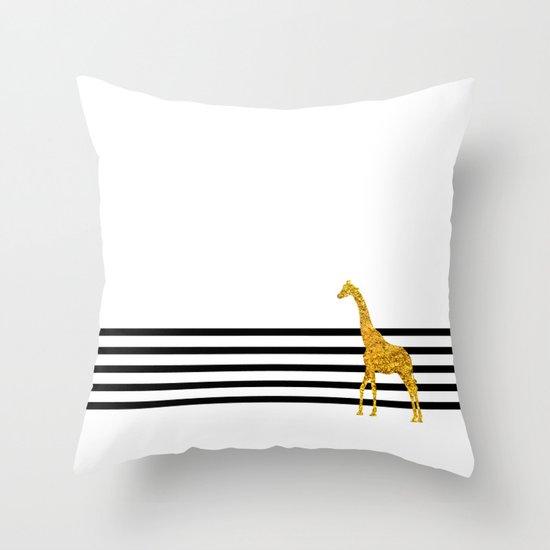Gold Giraffe Throw Pillow
