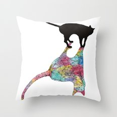 The Cat and Its Shadow Throw Pillow