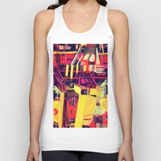Industrial Abstract Red Unisex Tank Top