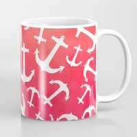 Tropical sunset watercolor nautical anchors Mug