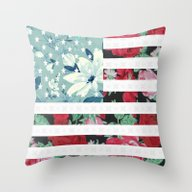 US Flowers Throw Pillow