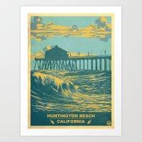 Vintage Huntington Beach… Art Print
