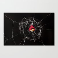 Angry Birds Breaking Glass Canvas Print