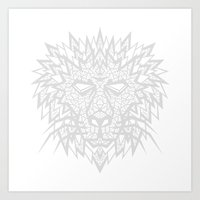 Heart Of A Lion - Gray Art Print