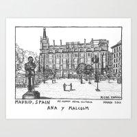 Madrid Reina Victoria Plaza de Santa Ana Art Print