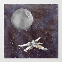 A War in the Stars in Watercolors Canvas Print