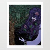 Purpled Haired Girl Art Print
