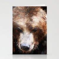 bear Stationery Cards featuring Bear // Gold by Amy Hamilton