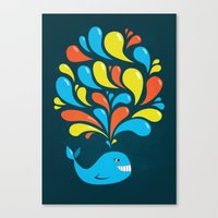 Dark Colorful Happy Cartoon Whale Canvas Print