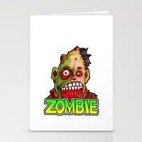 ZOMBIE title with zombie head Stationery Cards