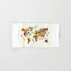world map art text Hand & Bath Towel