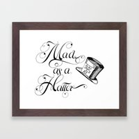 Alice in Wonderland Mad As A Hatter Framed Art Print