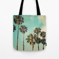 Palms Blue Tote Bag