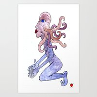 Octopus man can't wait no more Art Print