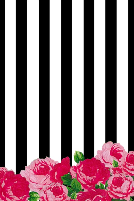 Bold Stripes with Flowers Art Print