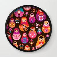 Russian Dolls illustration pattern print Wall Clock