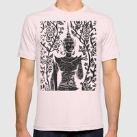Buddha With Flowers Mens Fitted Tee Light Pink SMALL