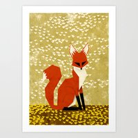 fox on flowers Art Print