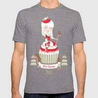 Merry Lady Christmas Cupcake Mens Fitted Tee Tri-Grey SMALL