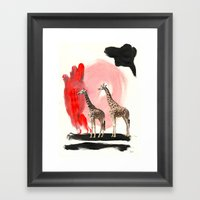 Paint the Blues Away Giraffes Framed Art Print